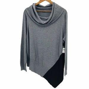 VERVE AMI Grey Black AsymmCowl Neck Sweater Plus1X